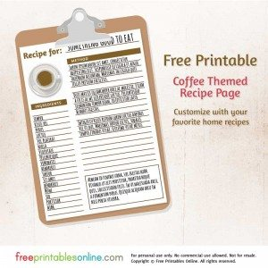 Coffee Themed Free Printable Blank Recipe Page
