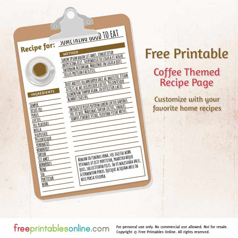 Coffee Themed Free Printable Blank Recipe Page  Free Printables Online