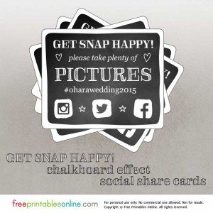 Get Snap Happy Wedding Hashtag Reminders