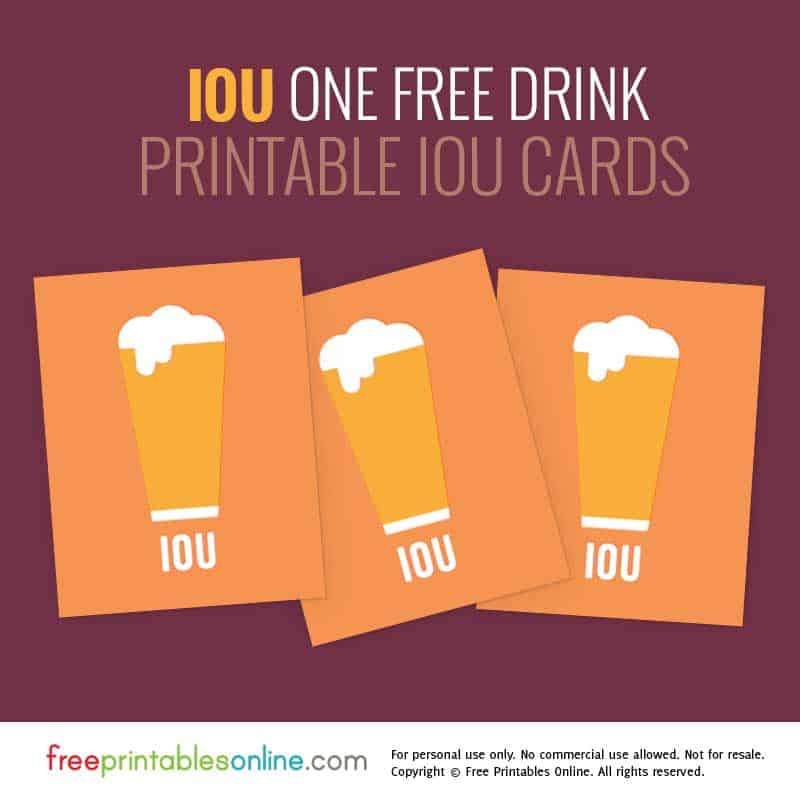One free drink iou coupon free printables online for Drink token template
