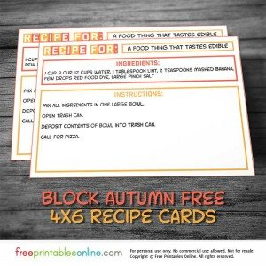 Block Autumn Modern Recipe Cards