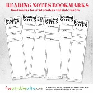Reading notes bookmarks