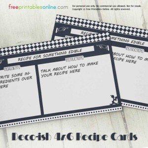Deco-ish Printable Recipe Cards