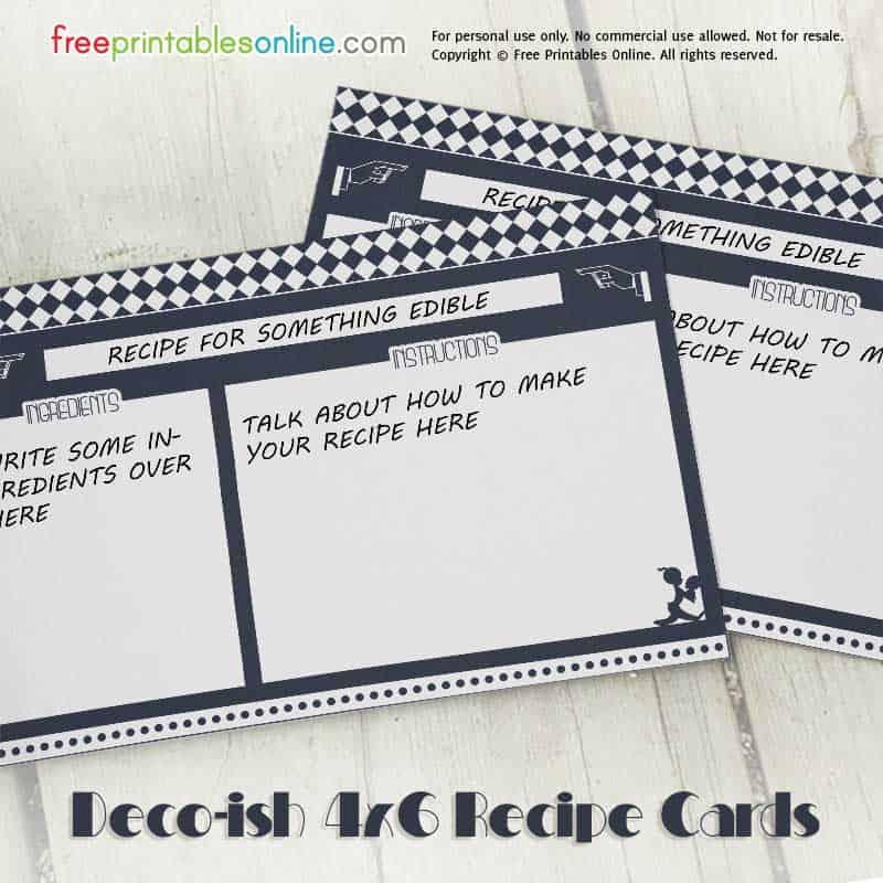 Decoish Free Recipe Cards