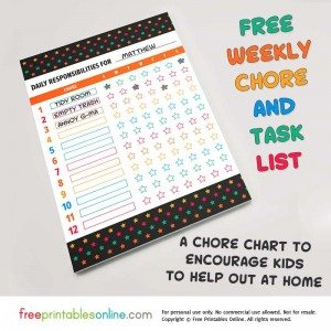 Printable Customizable Chore Chart for Kids