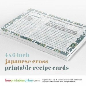 Japanese Cross 4×6 Recipe Cards