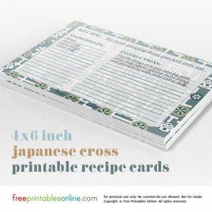 Japanese Cross 4×6 Recipe Cards