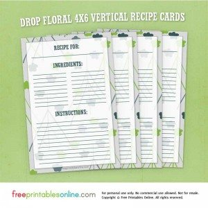 Drop Floral 4×6 Vertical Recipe Cards