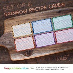 Set of 6 Rainbow Zig Recipe Cards (4×6)