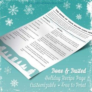 Christmas Printable Recipe Page
