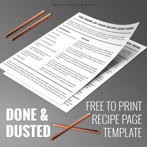 Done and Dusted Blank Recipe Page Template