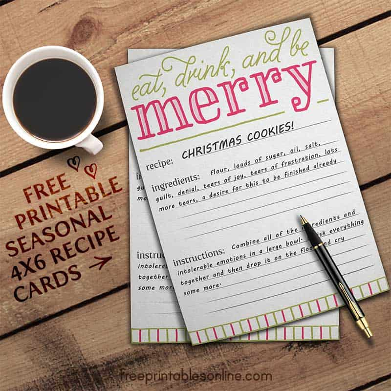 eat drink and be merry holiday recipe card template. Black Bedroom Furniture Sets. Home Design Ideas