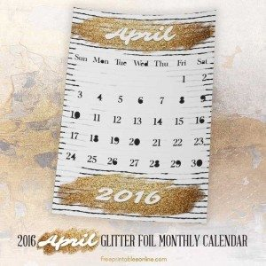 Glitter Foil Gold Printable April 2016 Calendar