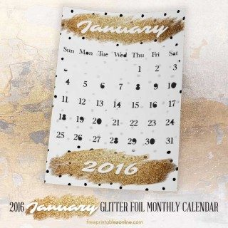 Glitter Foil Gold January Monthly Calendar