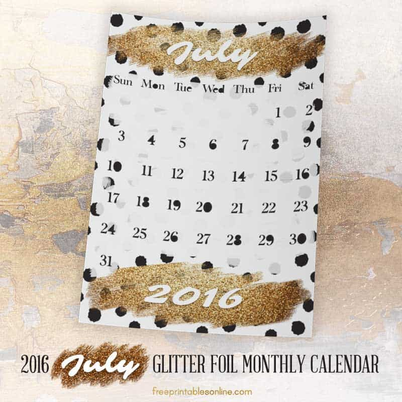 Glitter Foil Gold July Monthly Calendar