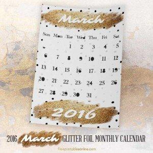 Glitter Foil Gold March Monthly Calendar