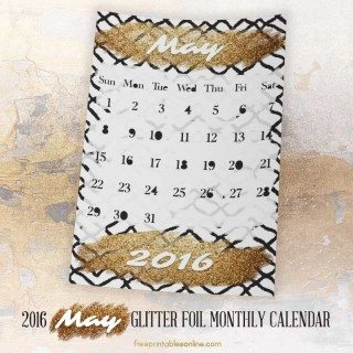 Glitter Foil Gold May Monthly Calendar