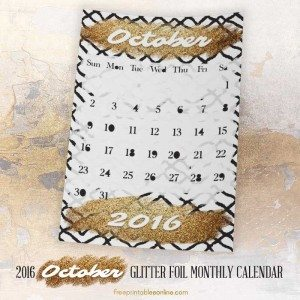 Glitter Gold Foil Printable October 2016 Calendar