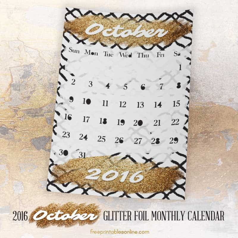 Glitter Foil Gold October Monthly Calendar