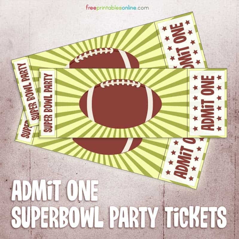 Printable Admit One Super Bowl Party Ticket  Blank Admit One Ticket Template