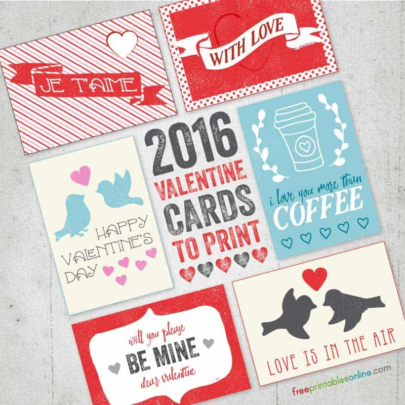 2016 Valentines Cards to Print