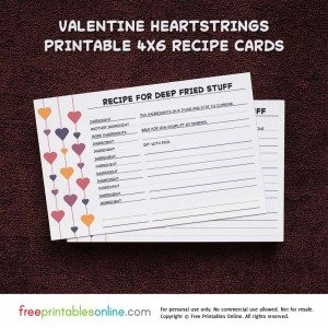 Heartstrings Valentine Recipe Card