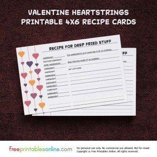 Heartstrings Valentine Recipe Cards