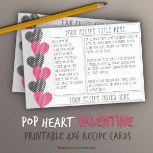 Printable Pop Hearts Recipe Card Template (4x6)