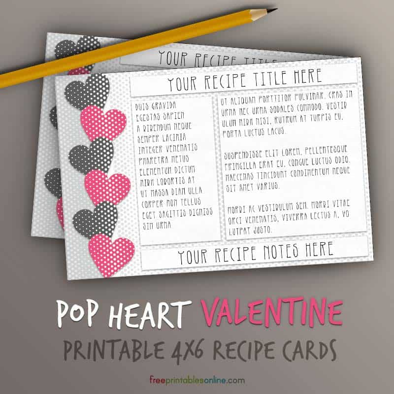 Pop Hearts Recipe Card Template 4x6 – Online Printable Valentine Cards