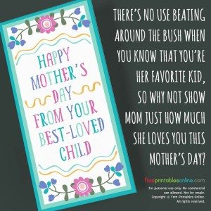 From Best-Loved Child Sarcastic Mother's Day Card