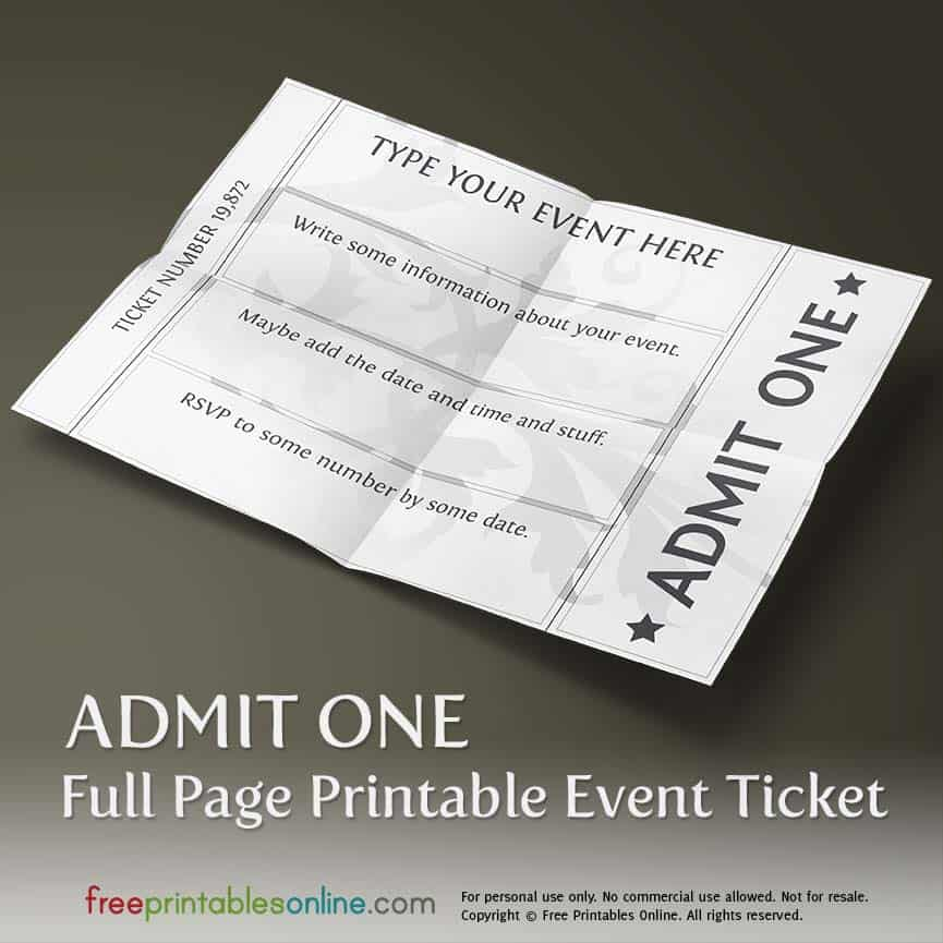 Full Page Ticket Template  Free Printable Tickets For Events