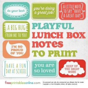 Playful Printable Lunch Box Notes