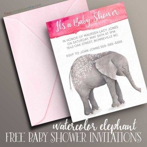 Watercolor Elephants Baby Shower Invitation