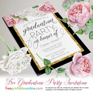 Floral Gold Graduation Celebration Invitation