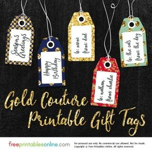 Gold Couture Fancy Gift Tags