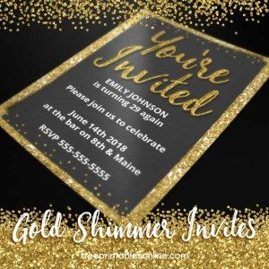 Gold Shimmer Personalizable Invitations