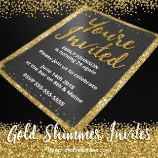 Gold Personalizable Invitations