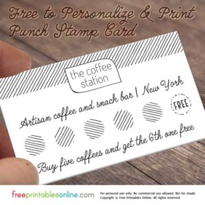 Sketched Lines Personalized Loyalty Punch Card