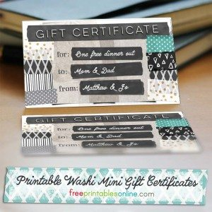 Washi Tape Printable Mini Gift Certificates