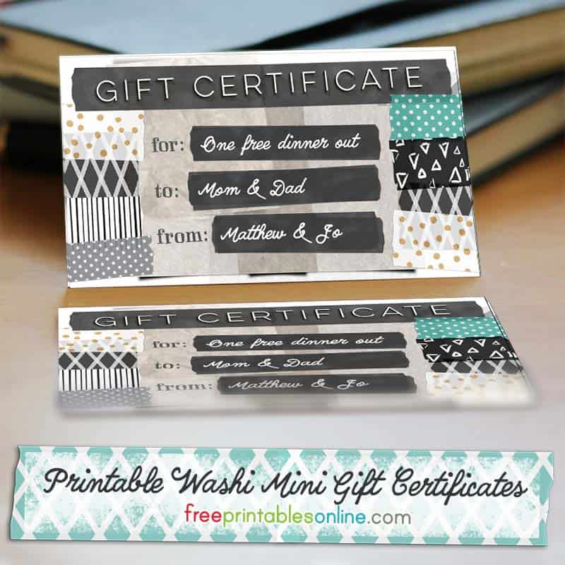 Printable Mini Gift Certificates