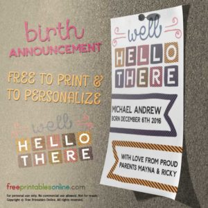Well Hello There! Printable Baby Announcement