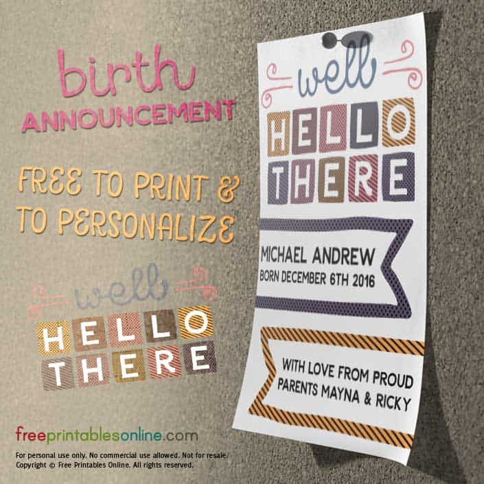 Printable Baby Announcement Postcard
