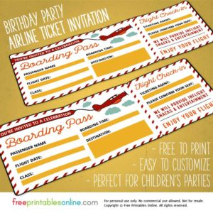 Red & Yellow Birthday Party Boarding Pass Template