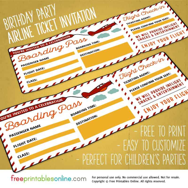 Birthday Party Boarding Pass Template  Print Tickets Free Template