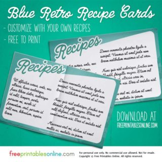 Retro Printable Recipe Card
