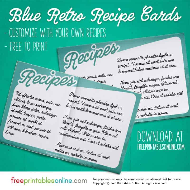 Retro Printable Recipe Card