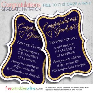 Gold Foil Printable Congratulations Graduate Invitation