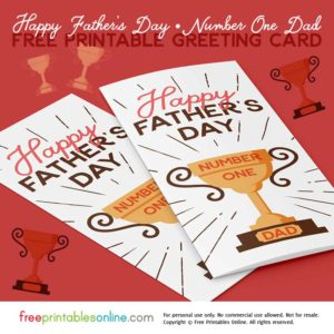 Printable Number One Dad Card for Father's Day