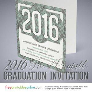 Victorian Printable 2016 Graduation Invitation