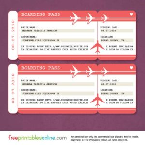 Red Boarding Pass Save the Date Template